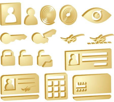 Security icon button illustration set, 3d style look Stock Illustration - 4623813