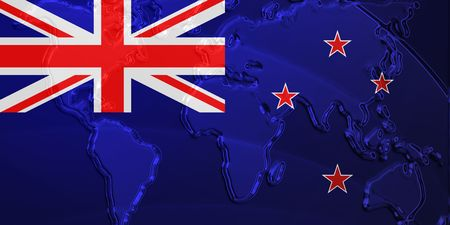tokelau: Flag of Tokelau, national country symbol illustration with world map, metallic embossed look Stock Photo