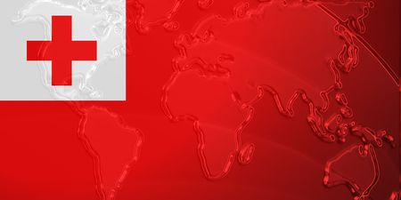Flag of Tonga, national country symbol illustration with world map, metallic embossed look illustration