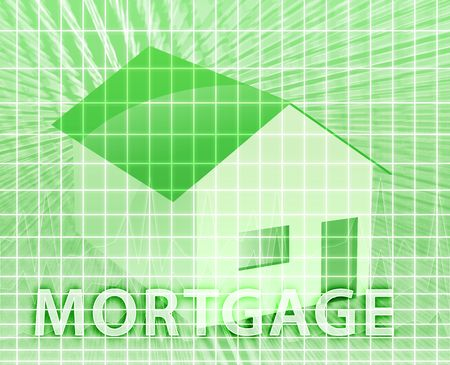 mortgaging: House financing digital collage illustration, subprime loan Stock Photo