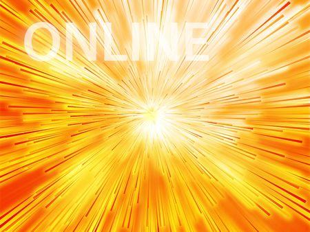 web presence internet presence: Online illustration, showing information transfer and flow Stock Photo