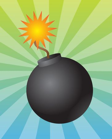 Old fashioned round black bomb with lit fuse Stock Photo - 4648127