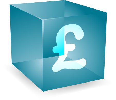 GB Pound icon on translucent cube shape illustration Stock Illustration - 4648089