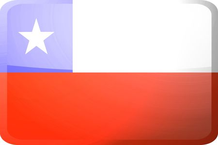 Flag of Chile, national symbol illustration clipart glossy button icon illustration