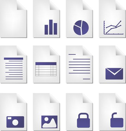 file types: Document file types icon set clipart illustration
