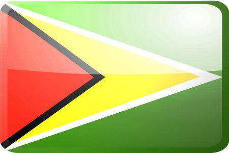 guyana: Flag of Guyana, national country symbol illustration glossy button icon