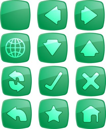 enabled: Basic navigation icon set , glossy aqua look