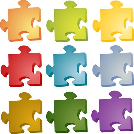 separate: Set of jigsaw puzzle pieces in different colors