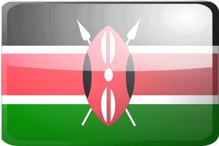 Flag of Kenya, national country symbol illustration glossy button icon illustration