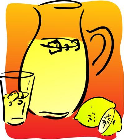 Lemonade and lemons, retro hand-drawn style. Lemon and lemon slices, pitcher and glass of lemonade photo