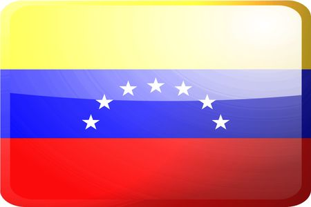 Flag of Venezuela, national country symbol illustration glossy button icon illustration