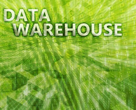 data warehouse: Almac�n de datos resumen, la tecnolog�a de la computaci�n concepto ilustraci�n