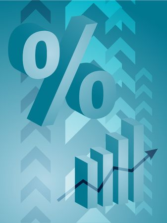 barchart: Abstract financial success illustration with percent symbol Stock Photo