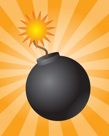 catastrophe: Old fashioned round black bomb with lit fuse