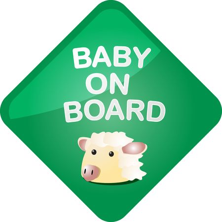 Baby on board sticker with sheep, sign illustration illustration