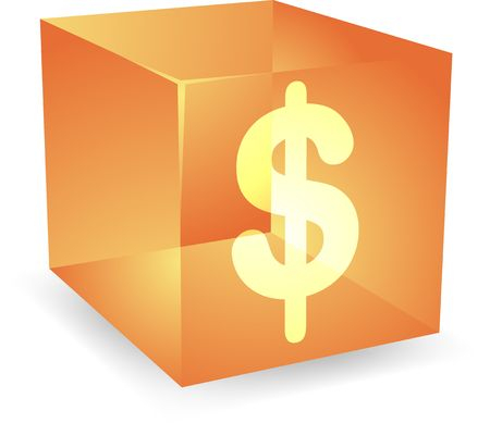 Dollar icon on translucent cube shape illustration Stock Illustration - 4698475