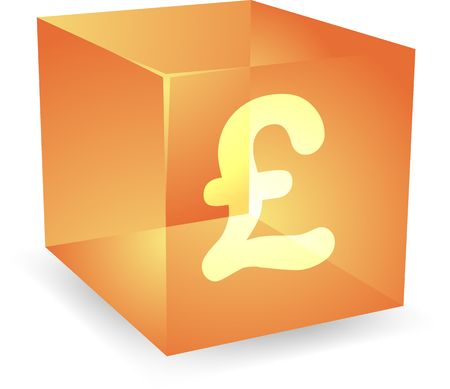 GB Pound icon on translucent cube shape illustration Stock Illustration - 4698479