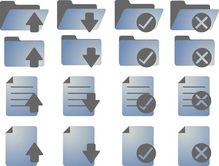 no movement: Document folder icon set, with different statuses