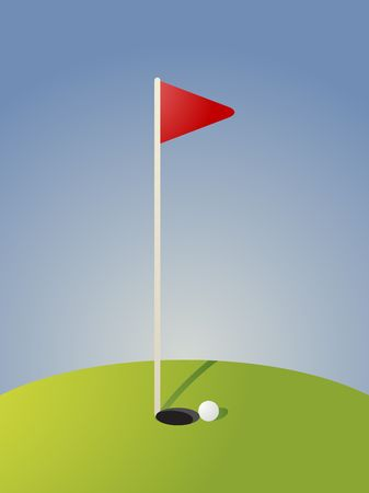 greens: Golf illustration with hole flag on greens
