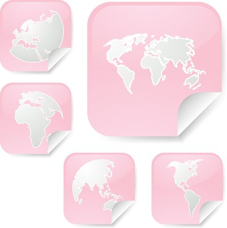 editable eastern asia: World map icons on square sticker shapes