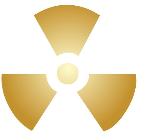 radium: Illustration of radiation hazard warning alert symbol