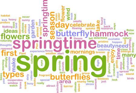taxonomy: Word cloud concept illustration of spring season