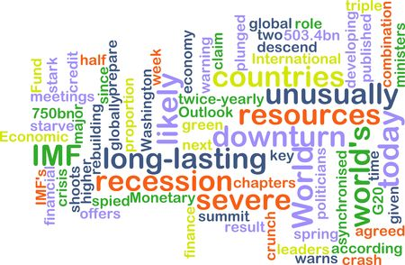 recession: Word cloud concept illustration of recession economy