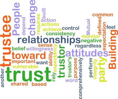 rely: Word cloud concept illustration of building trust Stock Photo