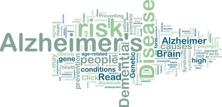 Word cloud concept illustration of Alzheimers disease illustration