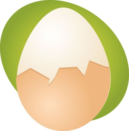 boiled: Egg illustration clipart hard boiled partly peeled Stock Photo