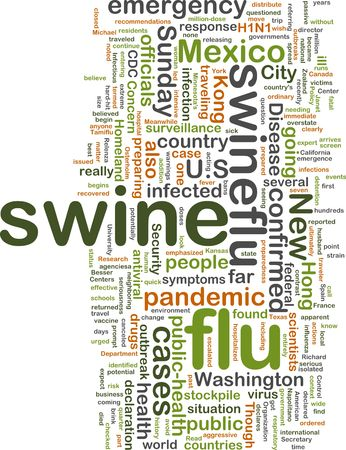 recommendations: Word cloud concept illustration of swine flu Stock Photo