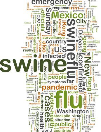 Word cloud concept illustration of swine flu Stock Photo