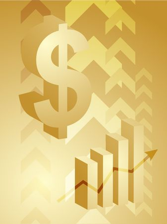 Abstract financial success illustration with dollar currency Stock Photo