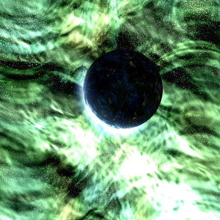 Science fiction planet complex space scene illustration Stock Illustration - 4770315