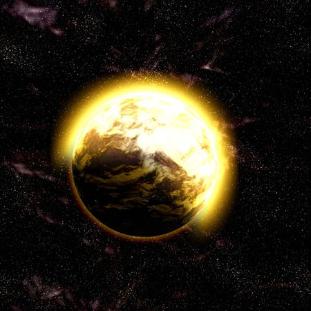Science fiction planet complex space scene illustration Stock Illustration - 4770318