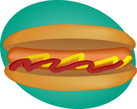 mustard: Hotdog illustration, sausage between buns with ketchup and mustard