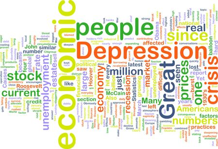 economic depression: Word cloud concept illustration of economic depression