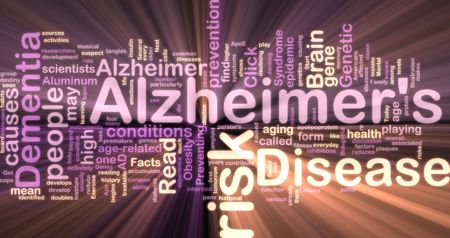 Word cloud concept illustration of Alzheimers disease glowing neon light style illustration