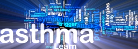 Word cloud tags concept illustration of asthma glowing neon light style
