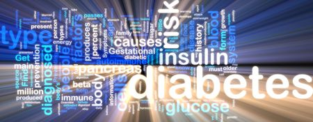 Word cloud concept illustration of diabetes condition glowing neon light style