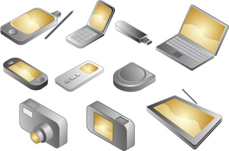 Illustration of various electronic gadgets in isometric format Stock Illustration - 4826263