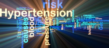disease prevention: Word cloud tags concept illustration of hypertension  glowing neon light style