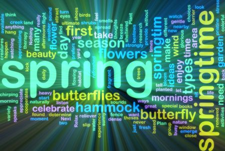taxonomy: Word cloud concept illustration of spring season glowing neon light style