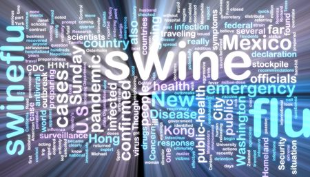 cdc: Word cloud concept illustration of swine flu glowing neon light style