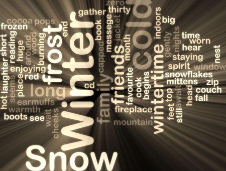 taxonomy: Word cloud concept illustration of winter season glowing neon light style