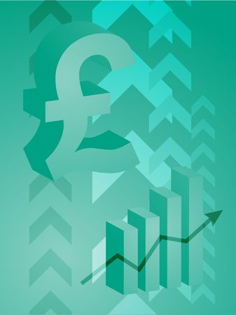 Abstract financial success illustration with pound currency illustration