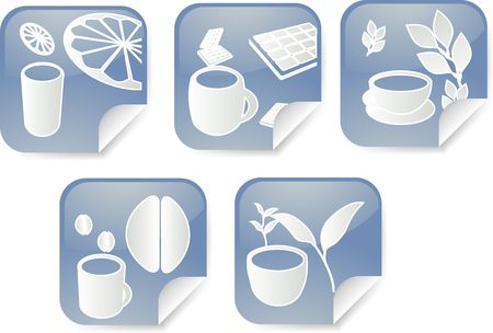 Set of various beverage icons on square sticker photo