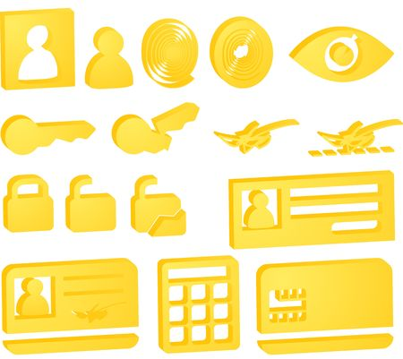 Security icon button illustration set, 3d style look Stock Illustration - 4859464