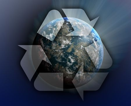Recycling eco symbol illustration of three arrows over planet earth Stock Photo