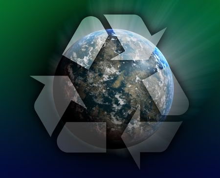 Recycling eco symbol illustration of three arrows over planet earth illustration